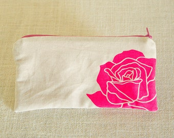 Rose, Clutch Purse, Bridesmaid Clutch, Bridesmaid Gift, Floral, Neon, Zipper Pouch, Travel Bag, Cosmetic Bag, Pencil Pouch, Screen Printed