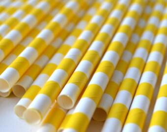 Yellow Circular Striped Paper Straws