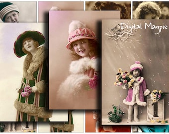 Christmas digital collage sheet - Vintage Winter - atc tag size images - digital download - printable - instant download - vintage girls