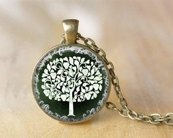 Tree Pendant Necklace, Tree of Life Necklace Jewelry Art Photo Print Pendant Wonderland Jewelry (047)