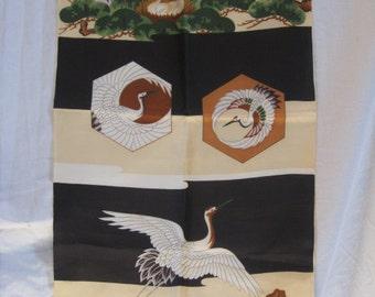 SF1205 Vintage Japanese Cranes on Silk Fabric