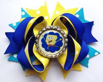 Spongebob hair bow 3 1/2 inches