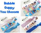 BUBBLE GUPPY You Choose 3 pack Birthday Elastic Hair Tie / Bracelet - Party Favor - Goody Bag - Fan Pack