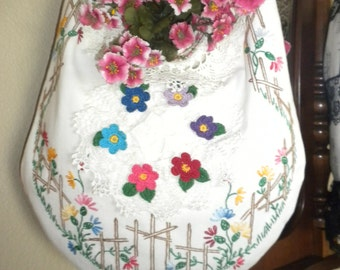 Garden Gate Shabby Chic Handbag Purse or Wall Hanging