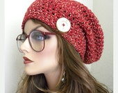 SALE!  Red Tweed Hat Boho Chic Slouchy Beanie Hand Crocheted women teen  fashion accessories
