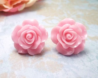 """Rose earrings Pink Flower Post Studs Pinup Rockabilly jewelry Brides maids Flower Girl handmade accessories Large 3\4"""""""