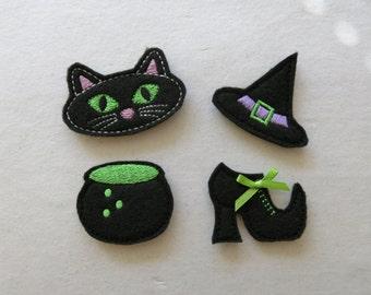 Witch Felt Embelishments, set of 4, Felties