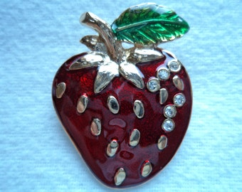 Vintage  Unsigned Silver/Red/Green Strawberry Brooch/Pin