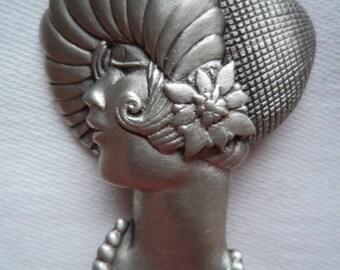 Vintage Signed JJ  Silver pewter Flapper Girl Brooch/Pin