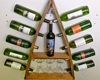 Barrel Stave 10 Bottle/2 Shelf Wall Mount Wine Rack – Steeple OG
