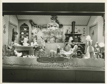 Christmas store display toys antique photo