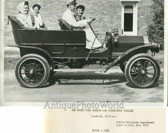 Women with shoeffer riding Buick model F car automobile antique photo
