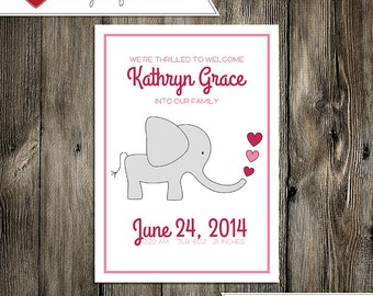 Baby Announcement: Baby Girl Kathryn Grace Custom Non-Photo Digital Birth Announcement