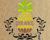 """Personalized, Custom Pineapple Canvas, 6"""" x 6"""""""
