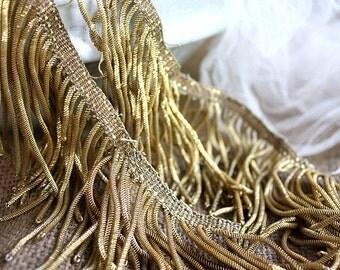 24 x 8cm Metallic Gold Fringe with Patina Antique