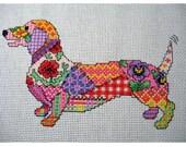Patchwork Dog Cross Stitch Chart. Instant download PDF file