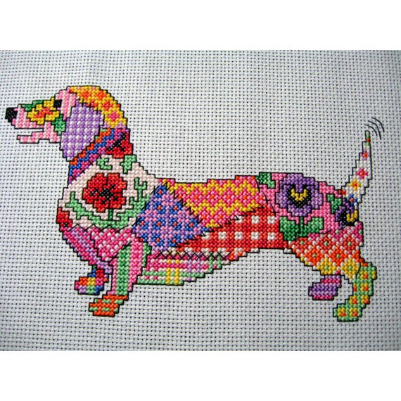 Patchwork Dog Cross Stitch Chart. Instant download PDF file