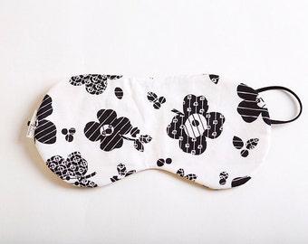 Black Floral Sleep Shade Eye Mask with Yellow EyeMask, SleepMask