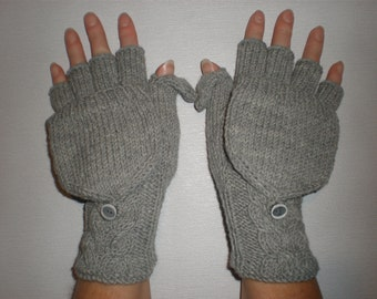 Handknitted medium grey color  women convertible fingerless gloves to mittens with buttons