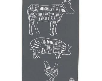 Butcher cuts tea towel - Dish Cloth - Kitchen Towel - T14