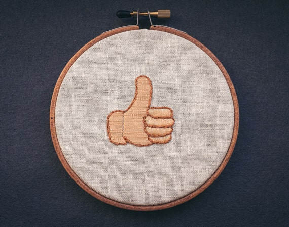 """Thumbs up emoji embroidered 4"""" wall hanging"""