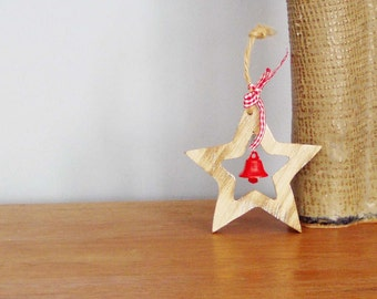 Wooden star with red bell and red ribbon, natural blond wood star outline, Christmas vintage  ornament
