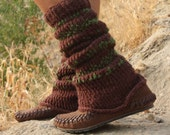 Moccasin with knitted leg, Hand made with spanish leather, stitched with leather cord
