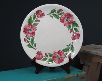 Shenandoah Ware Poppy Pattern Plate . Paden City Pottery . Made in USA . Beautiful Overall Crazing . Circa 1940s