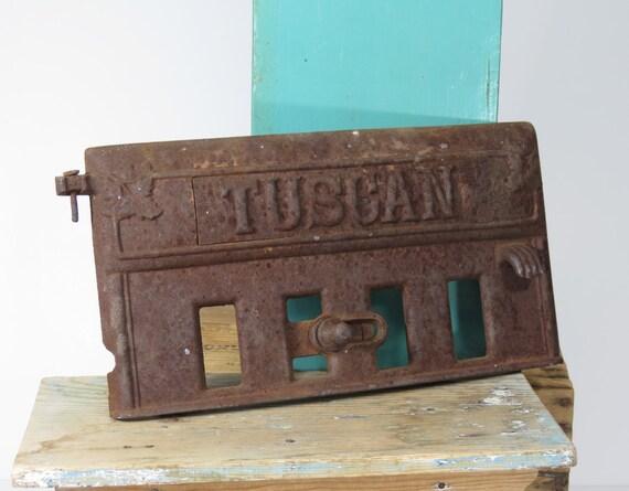 Antique Cast Iron Wood Stove Door Damper Tuscan