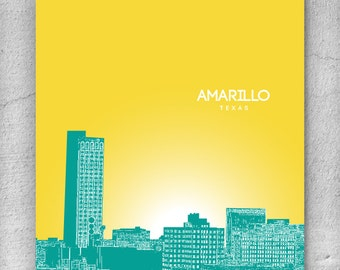 Amarillo Texas Skyline Art Poster / Home, Office, Nursery Art Poster / Any City or Landmark
