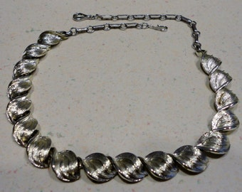 CORO Signed Silver Tone Choker Necklace 18 Inch