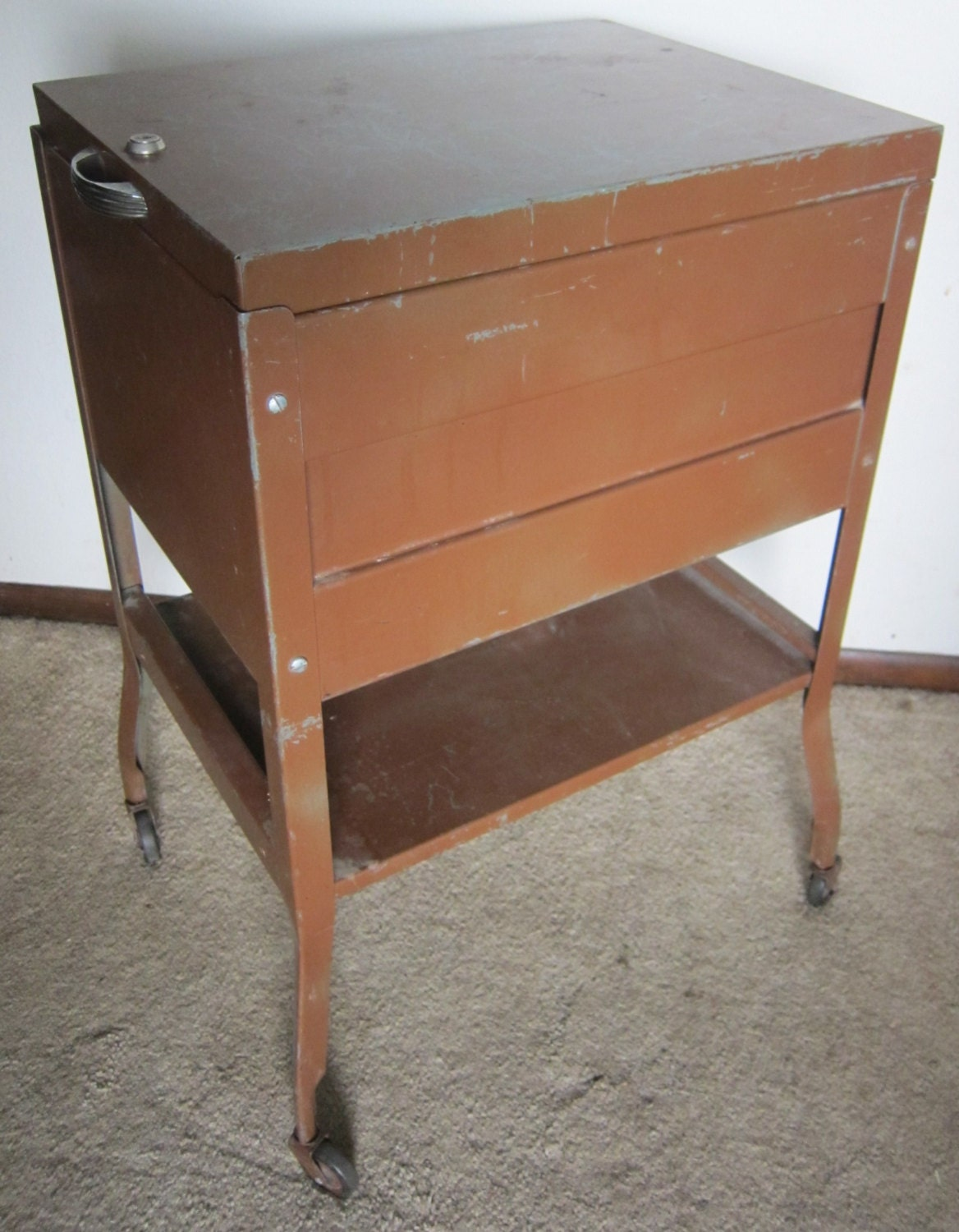 Industrial metal filing cabinet with casters top open upcycled Upcycled metal filing cabinet