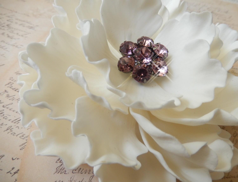 White Sugar Peony Wedding Cake Topper w Rhinestones by Sugar