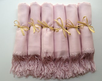 Set of 7 Baby Pink Shawls, Pashmina, Scarf, Wedding Favor, Bridal Shower Gift, Bridesmaid Gift, Wraps, Welcome Bags, Wedding Keepsakes