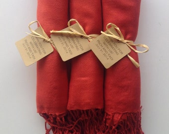 Set of 3 Burnt Orange Shawls with Favor Tags, Pashmina, Wedding Favor, Bridesmaids Gift, Wraps, Welcome Bags, Wedding Keepsakes