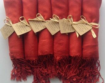 Set of 10 Burnt Orange Shawls with Favor Tags, Pashmina, Wedding Favor, Bridesmaids Gift, Wraps, Welcome Bags, Wedding Keepsakes