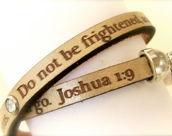 Be Strong and Courageous... Joshua 1:9 Daily Reminder Leather double wrap bracelet, sympathy gift, gifts for her, encouragement gift