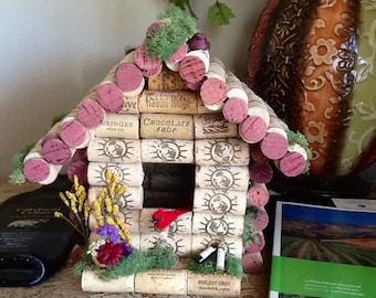 Birdhouse...Wine Cork Birdhouse, ...Home Decor,...wine theme ...Cottage birdhouse
