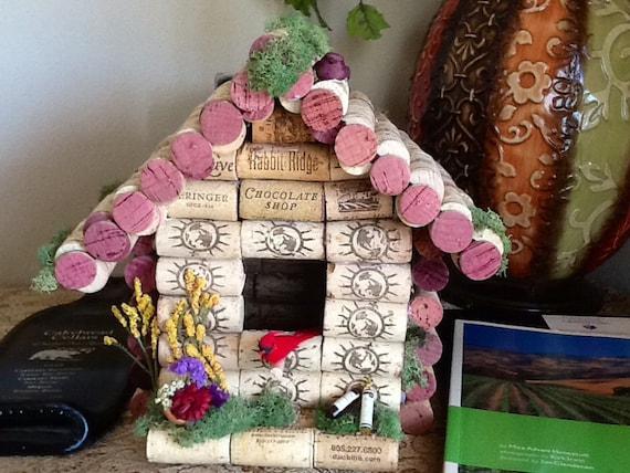 Cage oiseau bouchon de vin birdhouse d coration de la - Bouchon de liege decoration ...