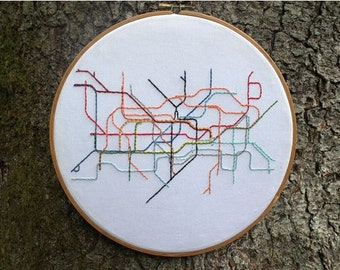 London Tube System - Embroidery Hoop Art