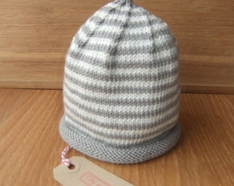 Hand knitted slate grey and cream stripey baby beanie hat - 0-3, 3-6, 6-12 and 12-24 months