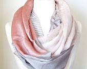 Antique Rose Color Block silky infinity scarf Chunky lightweight Women's Fashion Accessory Trending Items