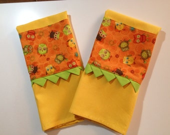 Cheerful little owls kitchen towel set FREE Shipping !!!