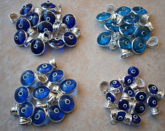 GENUINE EVIL EYE Sterling Silver .925 round Glass 10mm bead Greek Charm murano Nazar Mati Turkish beads Greece judaica hamsa bracelet