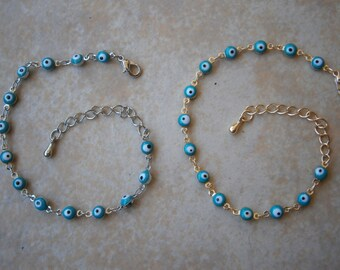 GREEK EVIL EYE Silver & Gold Tone Baby Blue Color Rainbow round 6mm bead bracelet Charm Nazar Mati Turkish beads Greece judaica hamsa