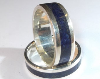 Silver 925 ring with dark blue glass