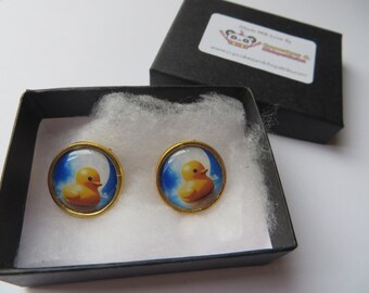 Cute Yellow Rubber Duck in the Moon Cameo Earrings - C0045 Rockabilly Vintage Sailor Pin Up Pirate Sailing Sea Tattoo Tropical Beach Antique