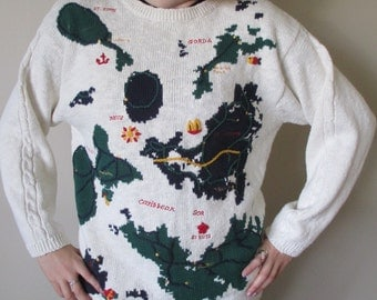 Vintage White Embroidered Map of the Carribean Islands Sweater- Embroidered Islands- Detailed