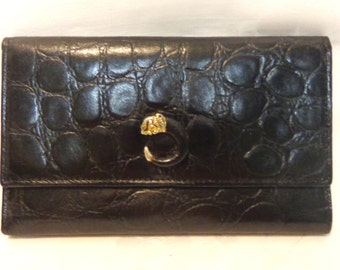 Paolo Masi clutch purse wallet gator stamped cowhide Italy checkbook passport large vintage made in Italy