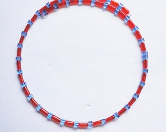 Necklace Glassbeads red & blue